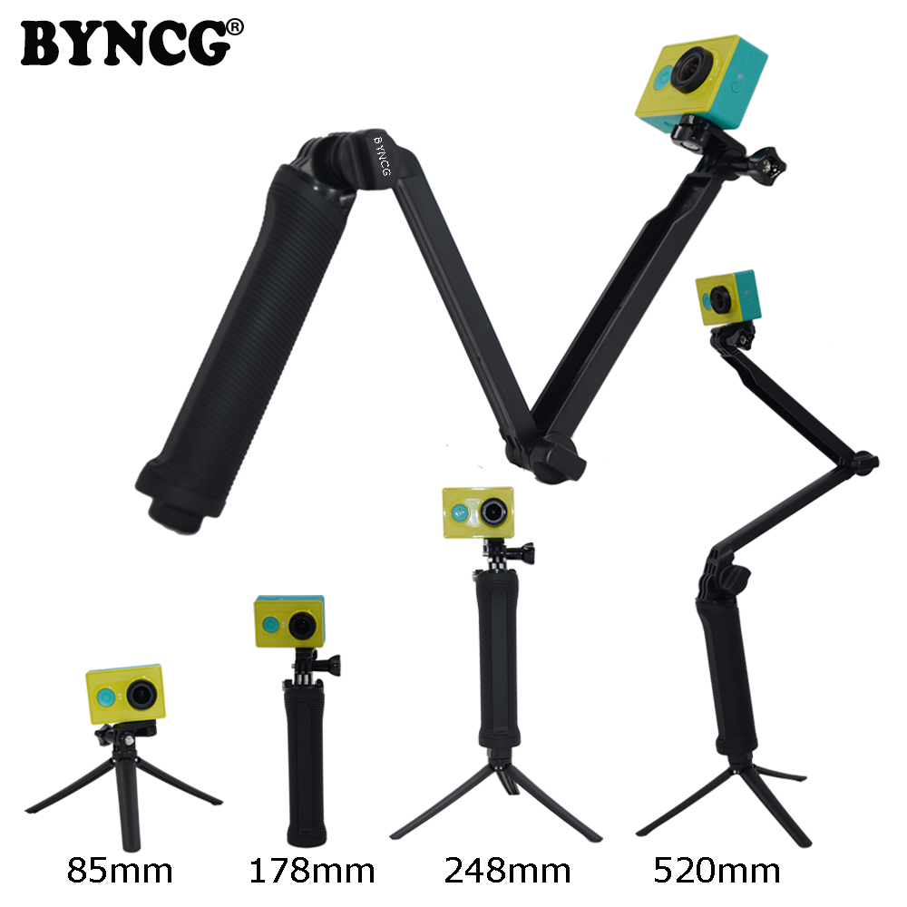 BYNCG 3way Extendable Camera Selfie Stick Action Camera Handheld Monopod for Sport Session HERO 65/2/3/3+/4 for SJ4000 orbmart extendable handheld selfie stick monopod mount adapter for gopro hero 5 4 3 3 2 sj4000 xiaomi yi sport action camera