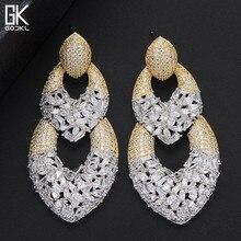 GODKI LuxuryWaterdrop pendientes largos para mujer circón cúbico de boda cristal CZ Dubai pendientes de novia joyería de moda 2018