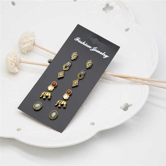 6 pairs /set fashion women's jewelry wholesale girls party pearl earrings set mashup gift earrings