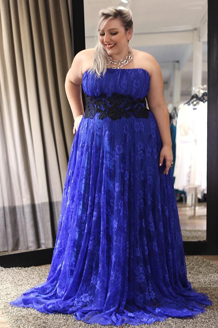 OMYE0020 strrapless royal blue and black lace evening dress ...