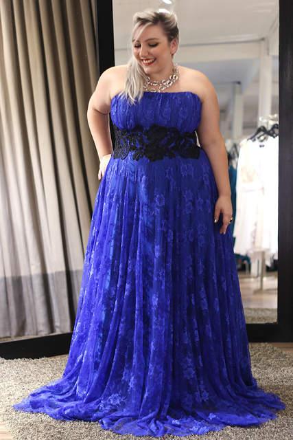 OMYE0020 strrapless royal blue and black lace evening dress wholesale plus  size maxi dress
