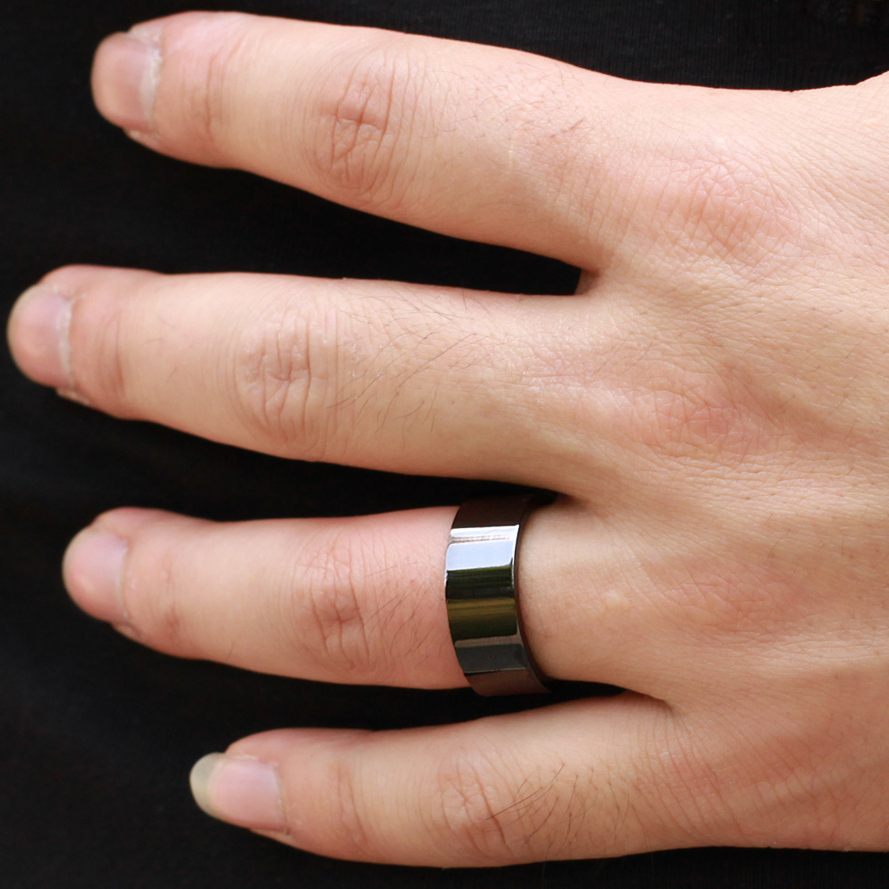 punk rings wide elements for meaeguet with item steel black stainless wedding carbon men from jewelry fiber in cool