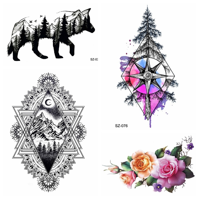 717bb7469 Watercolor Compass Tattoo Stickers Women Men Arm Art Pine Tree Temporary  Tattoo Men Fashion Flower Chains Fake Tatoos Small Wolf