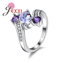 JEXXI Fashion Elegant CZ Diamond Party Rings For Women Band Jewelry 925 Sterling Silver Engagement Wedding Finger Ring Bijoux