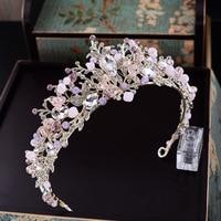 Baroque Pink Rhinestone Pearl Bridal Crowns Handmade Tiara Headband Crystal Wedding Diadem Queen Crown Wedding Hair
