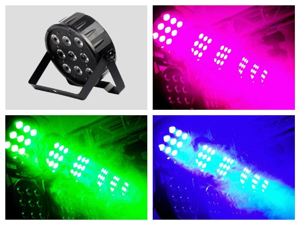 ФОТО 10pcs/lot, Flat LED Par Light 9x10W RGBW 4in1 DMX 8CHS Stage Disco Lighting DJ Equipment Party Home