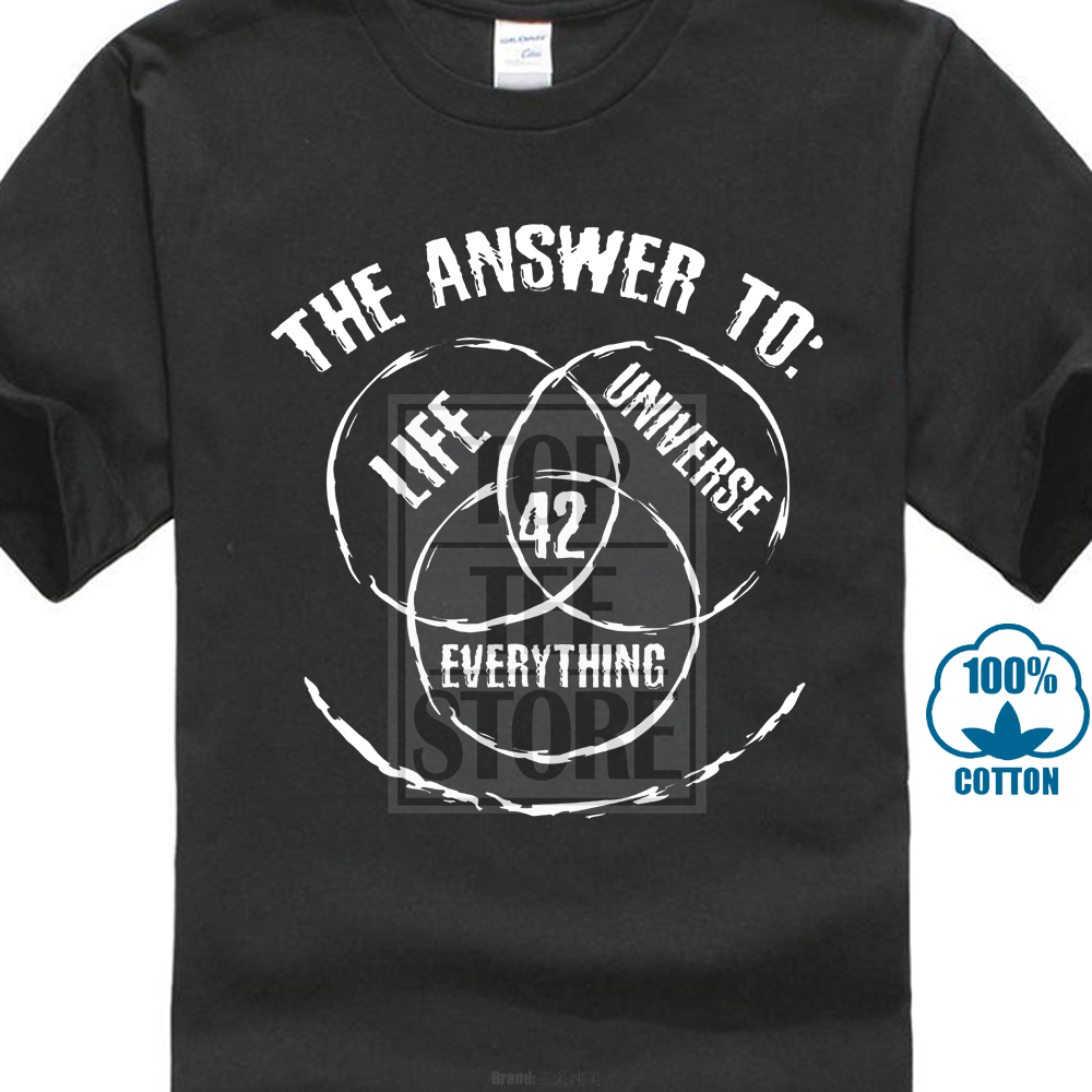 42 The Answer To Life The Universe And Everything   T     Shirt   Short Sleeve Discount 100 % Cotton Grey