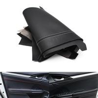 4pcs Front / Rear DIY Door Handle Panels / Door Armrest Leather Covers Protection Trim For Honda Civic 10th Gen 2016 2017