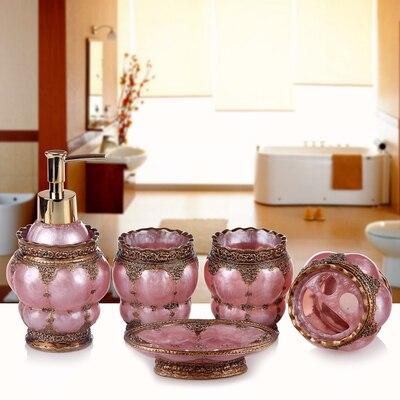 Résine salle de bains accessoires ensemble 5 pièces porte-brosse à dents Lotion distributeur savon anniversaire mariage cadeau décoration de la maison - 6