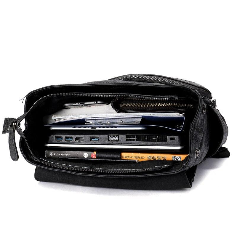 MVA мужской рюкзак из натуральной кожи, винтажные дорожные сумки, мужская деловая сумка для ноутбука, мужская сумка из воловьей кожи, черные сумки на плечо 6115 - 5