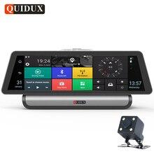 QUIDUX 10 Inch 4G Android Car DVR 1080P Video Camera GPS Navigation ADAS Full HD Camcorder Bluetooth WiFi Dual lens Dashcam