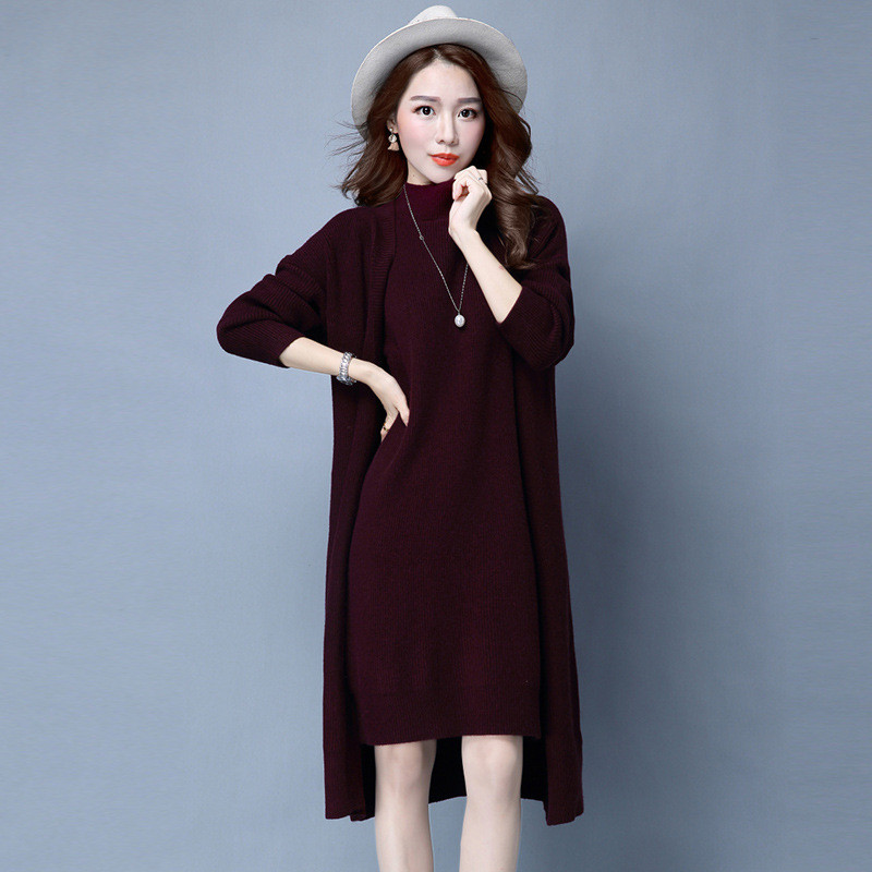 2016-Spring-Autumn-Women-Elegant-Dress-Suits-two-piece-Dress-with-Jacket-Knitted-Plus-Size-professional (2)