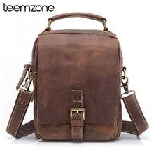 teemzone Hot Sell Men's Crazy Horse Genuine Leather Messenger Shoulder Vintage Satchel Tablet Bag Trend Free Shipping T8063