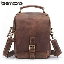 teemzone Hot Sell Men's Crazy Horse Genuine Leather Messenger Shoulder Vintage Satchel Tablet Bag Trend Free Shipping T8063(China (Mainland))