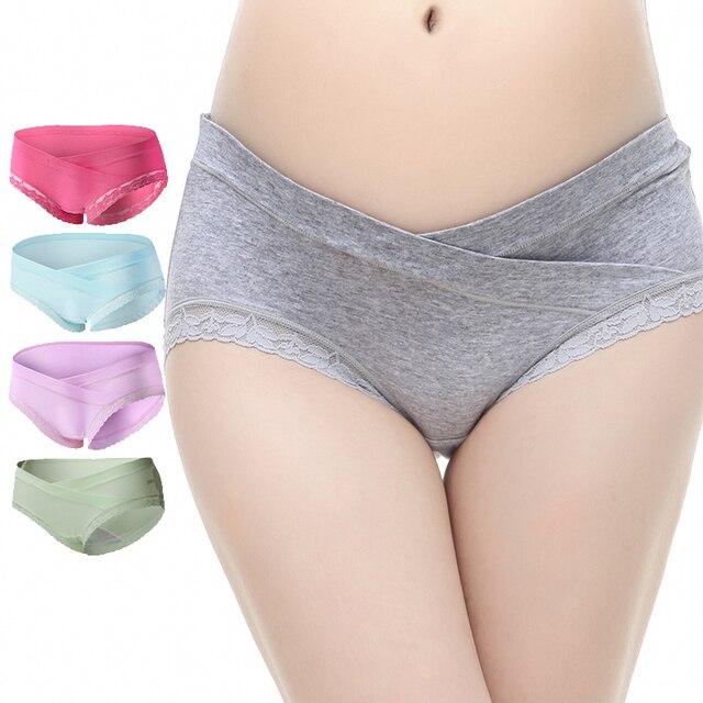 4Piece/Lot Cotton Pregnant Panties Maternity Underwear U-Shaped Low Waist Maternity Pregnancy Briefs Women Clothing 8-Colors