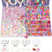 Girls Jewelry Making Beaded toys Creative DIY Acrylic Beads Kit Accessories for Bracelets Handmade Educational Toy Birthday Gift(China)