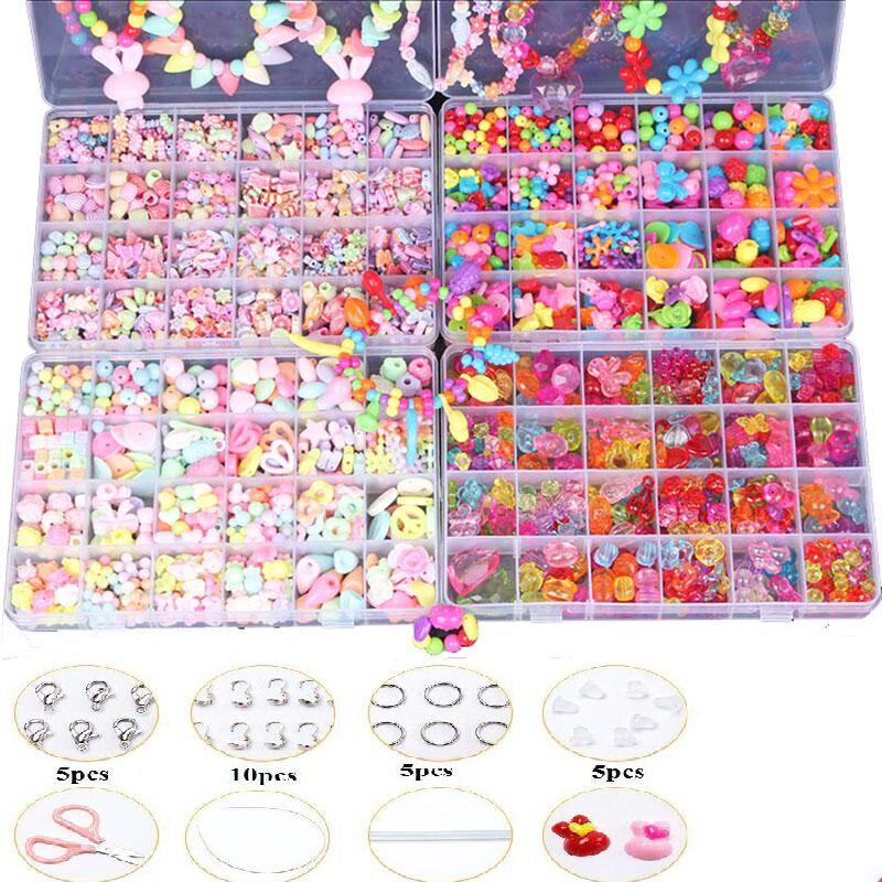Mädchen Schmuck Herstellung Perlen spielzeug Kreative DIY Acryl Perlen Kit Zubehör für Armbänder Handgemachte Pädagogisches Spielzeug Geburtstag Geschenk