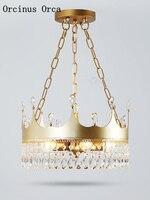 Нордическая Корона креативная хрустальная люстра для гостиной коридор детская спальня Американская страна светодиодный Золотой необычна