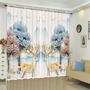 Colored tree sika deer Luxury 3D Blackout Window Curtain Smooth Drape For Living room Bed room Hotel Wall Tapestry Cortinas