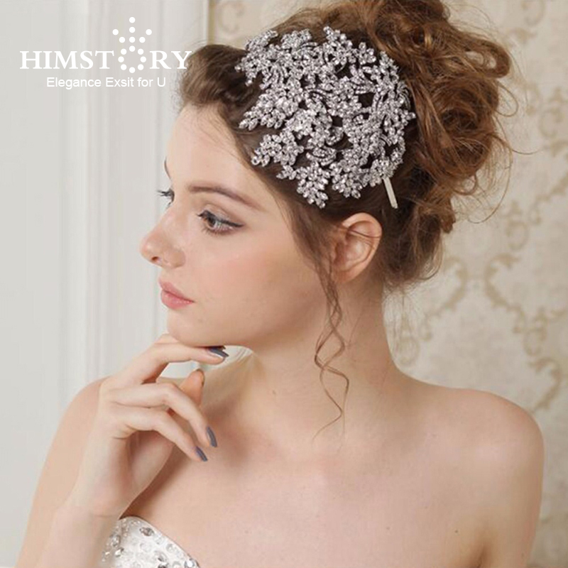 Himstory Luxury Big Crown Tiaras Cubix Crystal Handmade Bridal Queen Wedding Hair Accessories Headpiece Hairband Jewelry