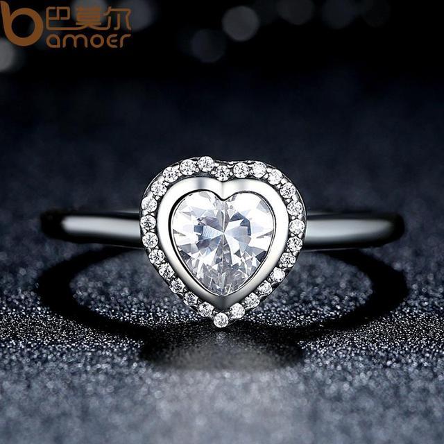 BAMOER Collezione Primavera 925 Sparkling Silver Amore Cuore Anello Dei Monili Delle Donne Regalo di San valentino PA7135