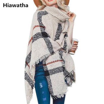 Hiawatha 2018 Long Turtleneck Cloak Knit Women Loose Plus Size Pullover Fashion Tassel Sweater M110