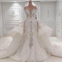 Luxury Beaded Mermaid Wedding Dress With Detachable Overskirt Dubai Arabic Sparkly Crystals Diamonds Bridal Gowns