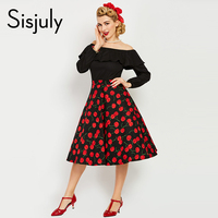 Sisjuly 1950s Style Vintage Dress Autumn Patchwork Print Women Party Dress Elegant Female Vintage Midi Dress