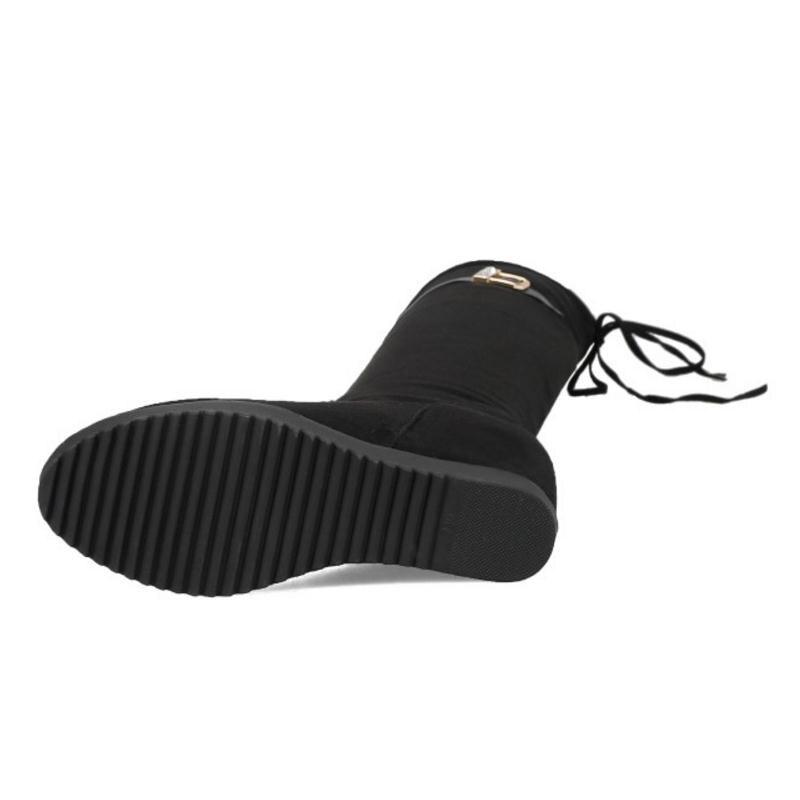Tacones 43 Caliente Invierno 32 Mujer Hebilla Zapatos Calzado Dentro Rodilla Sobre Kemekiss De Botas Mujeres Tamaño Piel Negro La Moda qnOwEpxR1E