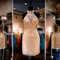 Viman's Bridal Fashion Gold Cocktail Dresses Sexy Sheer Halter Beaded Rhinestone Short Prom Dress 2017 A L Party Gown7