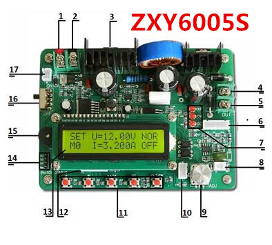 5pcs/lot ZXY6005 upgraded version ZXY6005S constant voltage current  60V  5A 300W DC-DC regulated switch power supply 5pcs zxy6005s upgraded version zxy6005 constant voltage current power supply module with heat sink voltmeter ammeter 60v 5a