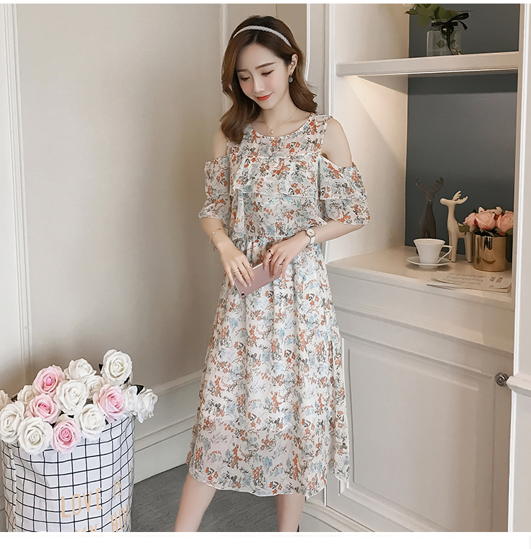 Pregnant Nursing Dress Off Shoulder print Maternity Breastfeeding Dresses For Photo Shoot Chiffon Maternity Dress Party Clothes 82