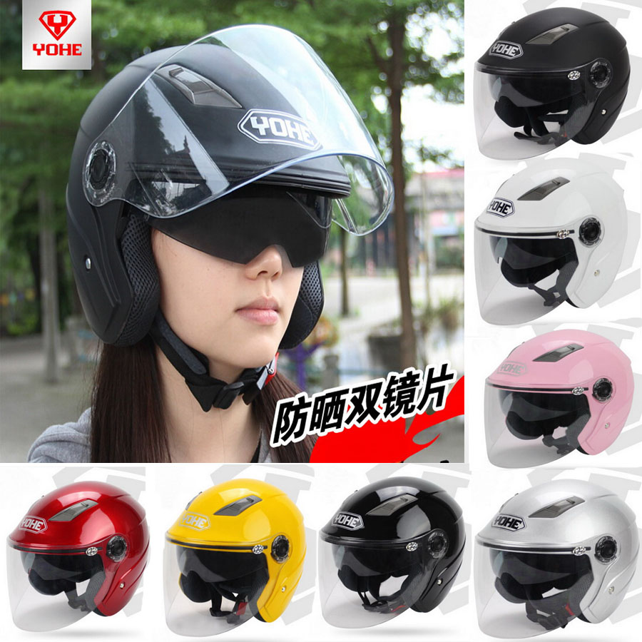 YOHE dual lens winter half face motorbike/motorcycle helmet Eternal electric bicycle helmets  YH837A SIZE M L XL XXL 7 colors masei green air jet helmet pilots flying helmets motorcycle half helmet electric bicycle open face pilot helmet free