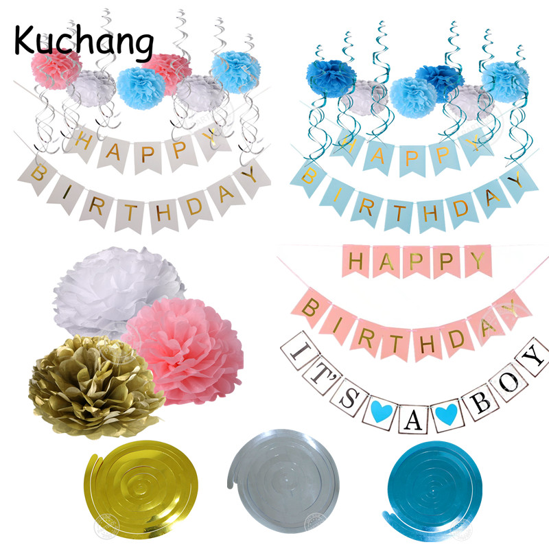 Paper Happy Birthday Banner Party Decorations Kids Garland Children Baby Boy Girl Child Bunting Adult Favors Paper Poms Supplies