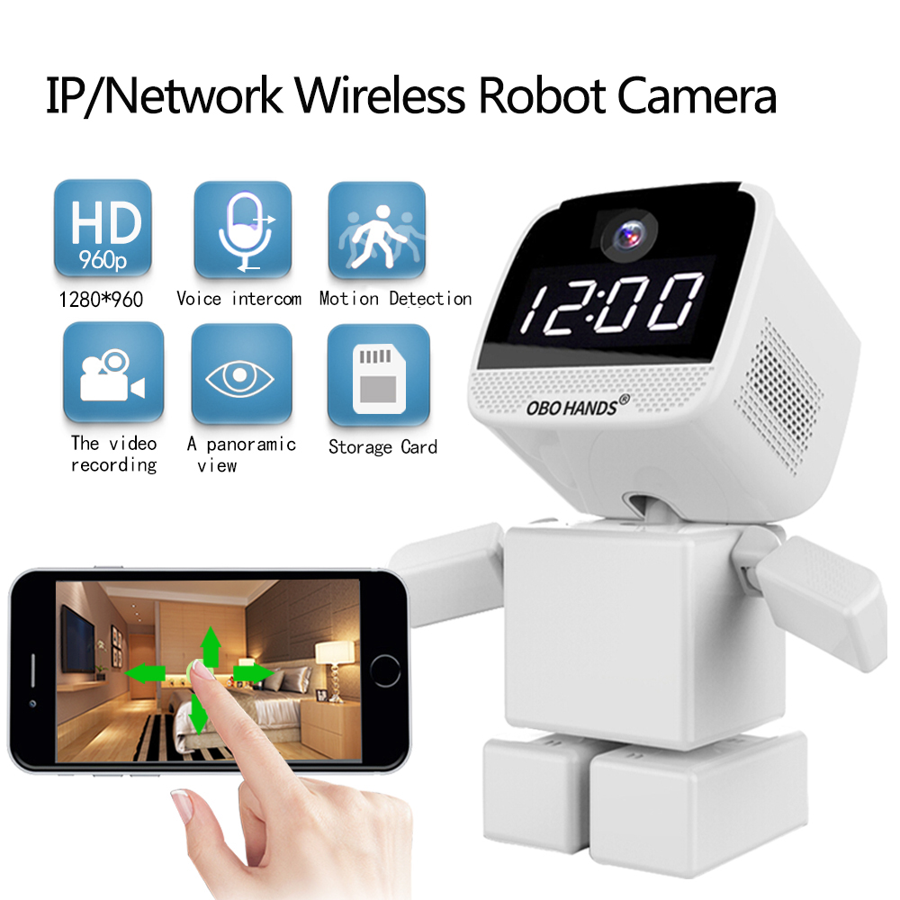 OBO Hands IP/ Network Wireless Robot Camera 906P HD Two Way Audio Support 64G TF Card with IR Night Vision P2P Cloud WIFI Camera howell wireless security hd 960p wifi ip camera p2p pan tilt motion detection video baby monitor 2 way audio and ir night vision