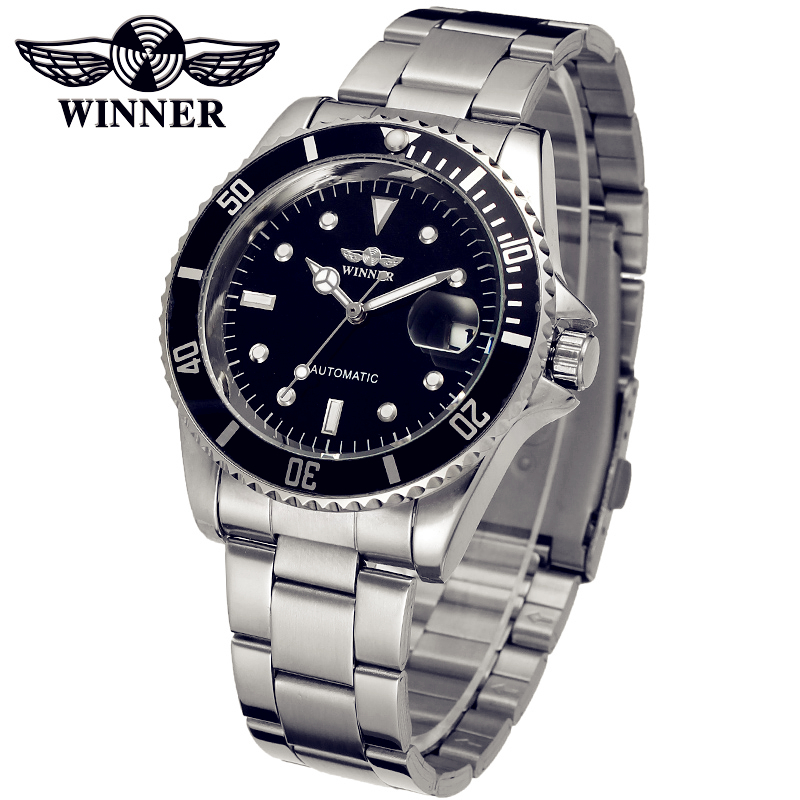 Fashion font b WINNER b font Men Luxury Brand Date Display Stainless Steel Watch Automatic Mechanical