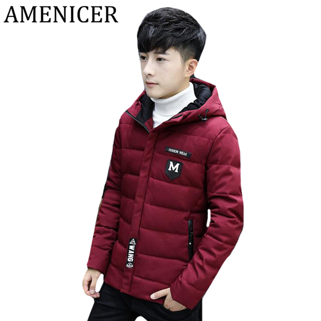 2d3b46d14d78 Men Winter Hooded Alphabet Badge Button Hem Thick Plaid Cotton Cool ...