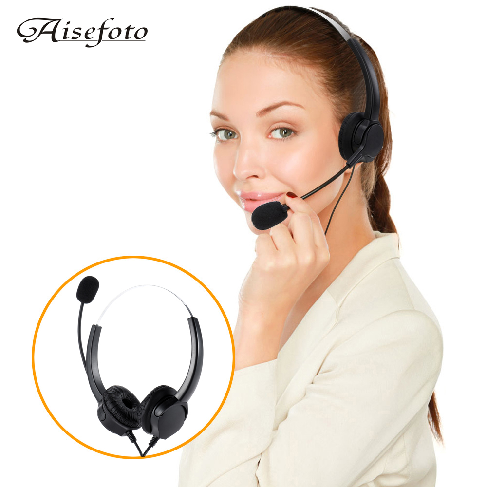 bilder für New Professional Telephone Headset Clear Voice Noise Cancellation Call Center Binaural Headphone Corded Headset with Micphone
