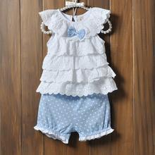 Newest Fashion 0-2Y Kids Baby Girls Cake Layers Lace Shirts Tops Polka Dot Shorts Pants Sets 2pcs