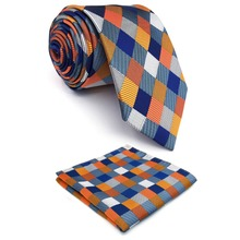 Checked Multicolor Mens Ties Neckties 100% Silk Jacquard Woven Gift For Men
