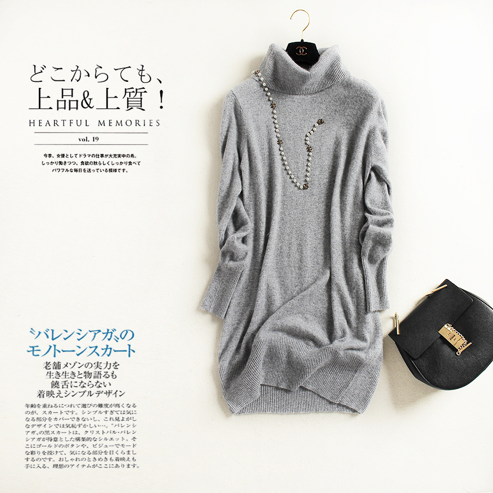 100 Mink Cashmere Knitted solid Turtleneck Pullover Winter Top Winter Warm Long Sleeve women Sweater dress cardigan feminino in Pullovers from Women 39 s Clothing