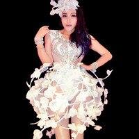 Белые цветы боди с кристаллами юбки пикантные Для женщин певица ночной клуб бар костюм подиум для моделей вечерние сцена наряды