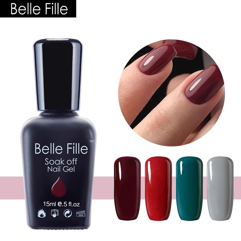 BELLE FILLE 15ml Nail Gel Polish Beauty Varnish DIY Nails Art ...