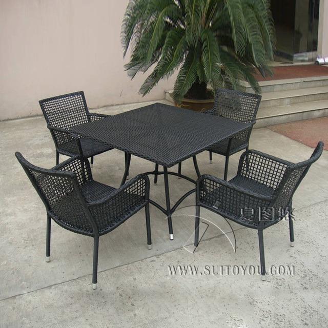 5 piezas Rattan jardín juegos de comedor, muebles de mimbre al Aire ...