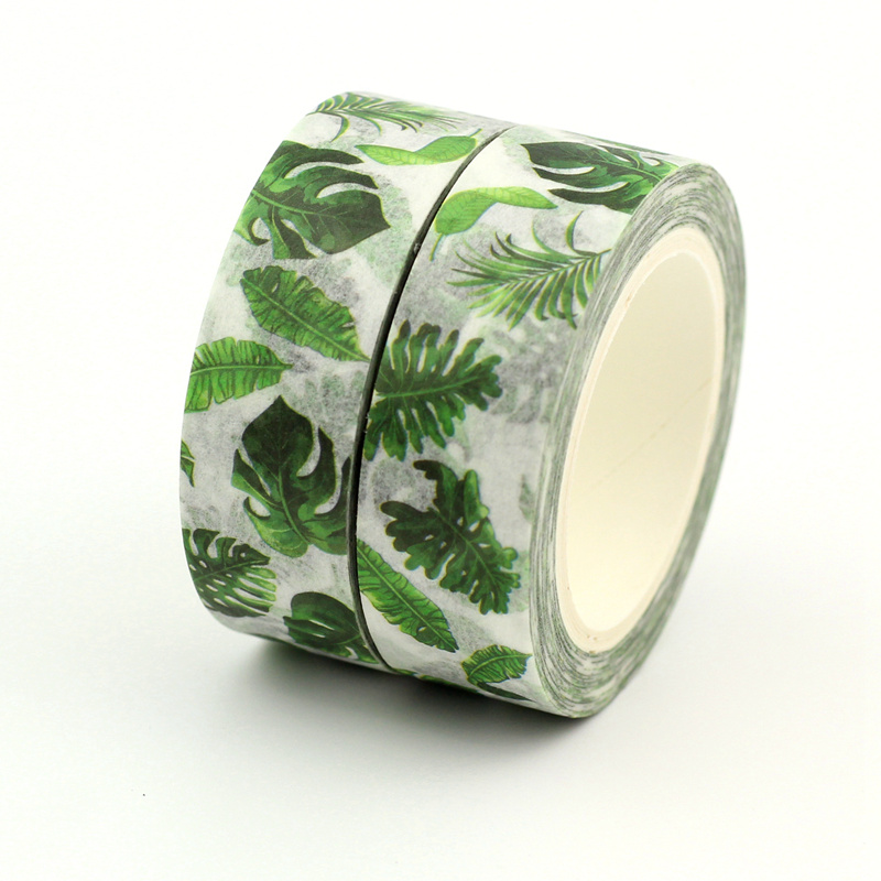 2PCS/lot Hot Tropical Palm Leaves Decorative Washi Tape Paper DIY Scrapbooking Adhesive Mask Tape 1.5cm*10m/Roll School Supply