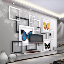 3D fantasy butterfly living room TV background wall professional production mural wallpaper custom poster photo