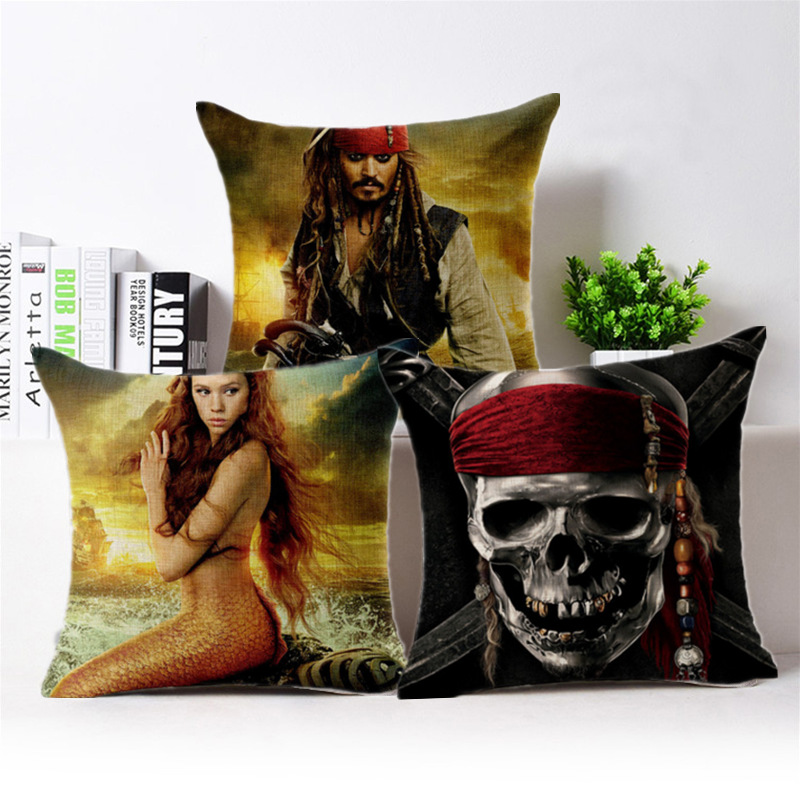 Caribbean Pirate Captain Jack Printed Bolster Comic Sofa Cushion Pillows 45*45cm High Quality 180gc Ramie Cotton Fabri Bolster