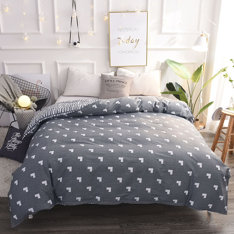 Gray+ White Love Pattern 1pcs Home Textile Single Duvet Cover No Filling 100% Cotton Solid Sanding Bed Comforter Cover Bedding