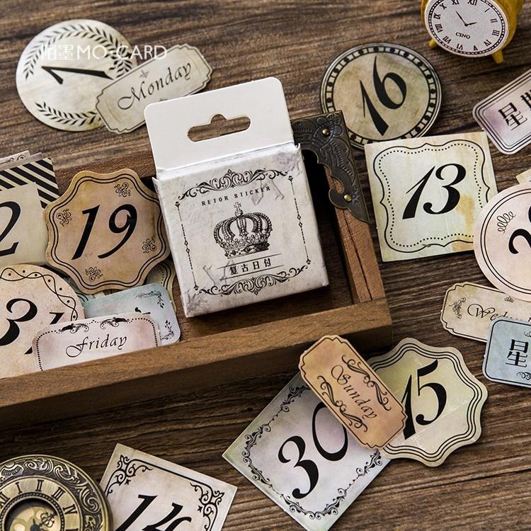 45pcs/box Creative Retro Date Paper Stickers Decorative Stationery Stickers Scrapbooking Diy Diary Album Stick Label