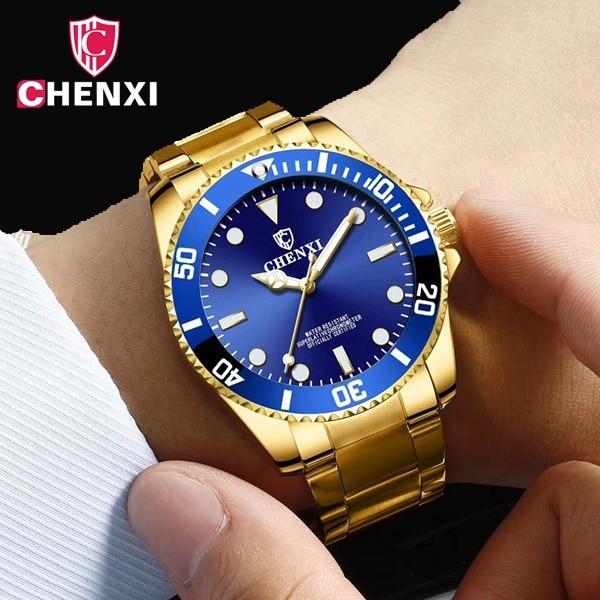 Luxe Top Marque Or Hommes Montre Unique Bleu D'affaires D'or Robe Montre pour Mâle Minimalisme Lumineux Pointeur Étanche Horloge